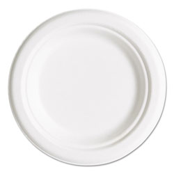 "Eco-Products Compostable Sugarcane Dinnerware, 6"" Plate, Natural White, 50/Pack"