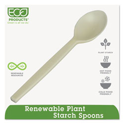Eco-Products Plant Starch Tan Plastic Teaspoons, Pack of 50