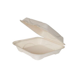 Eco-Products EP-HC6 Sugarcane Clamshell Food Container, 6 x 6 x 3