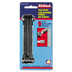 Eklind Tool Company 9 Piece Folding SAE Hex Key Set 5/64 1/4""