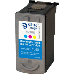 Elite Image 75366 Tri-Color CL-51 Replacement Ink Cartridge, 330 Pages