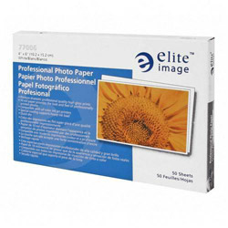 "Elite Image Professional Photo Paper, 10 mil, 4""x6"", 50/Pack, White"