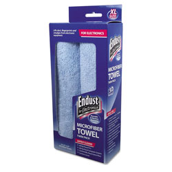 Endust Large-Sized Microfiber Towels Two-Pack, 15 x 15, Unscented, Blue, 1 Pack of Two