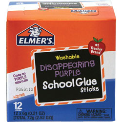 Elmer's .21 oz. Clear Dry Glue Stick, Goes on Blue