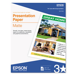 Epson Photo Quality Ink Jet Paper, 4.9 mil, 8 1/2 x 11, 100 Sheets/Pack