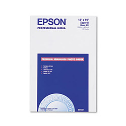 Epson Premium Semi Gloss Ink Jet Photo Paper,10 mil, 13 x 19, 20 Sheets/Pack