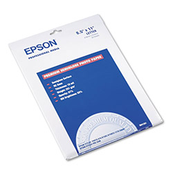 Epson Premium Semi Gloss Ink Jet Photo Paper, 10 mil, 8 1/2 x 11, 20 Sheets/Pack