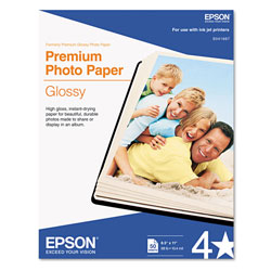 Epson Premium ink Jet Photo Paper, Glossy, 10.4 mil, 8 3/8 x 11 3/4, 50 Sheets/Pack