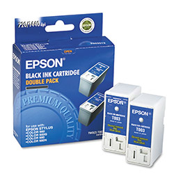 Epson Ink Cartridge for Stylus Color 900, 900G, 900N, 980, 980N, Black, 2/Pack