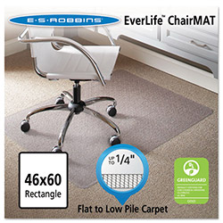 E.S. Robbins Anchormat Chair Mat for Low Pile Carpets, 46w x 60l, Clear