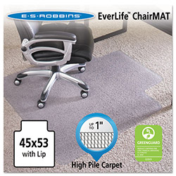 E.S. Robbins Anchormat Chair Mat for Plush Pile Carpets, 45w x 53l, Clear