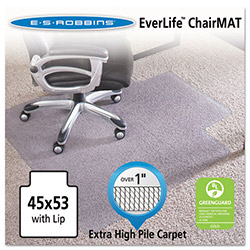 E.S. Robbins Anchormat Chair Mat For Plush Carpets, 45w x 53h, Clear