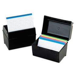 Oxford Plastic Index Card File, 500 Capacity, 8 5/8w x 6 3/8d, Black