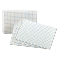 Oxford Grid Index Cards, 3 x 5, White, 100/Pack
