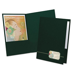 Oxford Monogram Series Business Portfolio, Premium Cover Stock, Green/Gold, 4/Pack