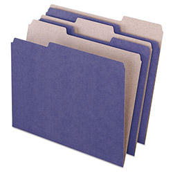 Pendaflex Earthwise Recycled Colored File Folders, 1/3 Top Tab, Letter, Violet, 100/Box