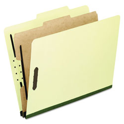 Pendaflex Four-Section Pressboard Folders, Letter, 2/5 Tab, Light Green, 10/Box