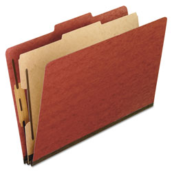 Pendaflex Four-Section Pressboard Folders, Letter, 2/5 Tab, Red, 10/Box