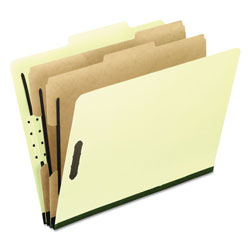 Pendaflex Six-Section Pressboard Folders, Letter, 2/5 Tab, Light Green, 10/Box