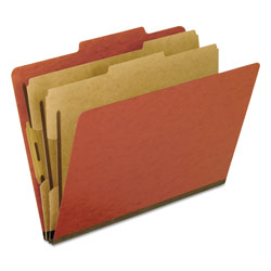 Pendaflex Six-Section Pressboard Folders, Letter, 2/5 Tab, Red, 10/Box