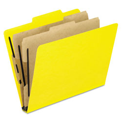Pendaflex Six-Section Colored Classification Folders, Letter, 2/5 Tab, Yellow, 10/Box