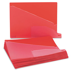 "TOPS End Tab Vinyl Outguides, Bottom Tab Printed ""OUT"", 2 Pockets, Letter, Red, 25/Bx"