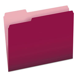 Pendaflex File Folders, Recycled, 2 Tone Burgundy, Letter Size, Top Tab, 1/3 Cut, 100/Box