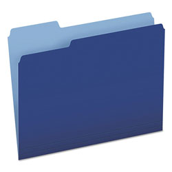 Pendaflex Colored File Folders, 1/3 CutTop Tab, Letter, Navy Blue/Light Navy Blue, 100/Box