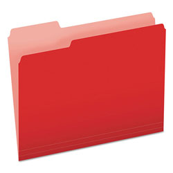 Pendaflex Colored File Folders, 1/3 Cut Top Tab, Letter, Red/Light Red, 100/Box