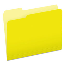 Pendaflex Colored File Folders, 1/3 Cut Top Tab, Letter, Yellow, Light Yellow, 100/Box