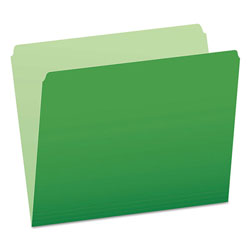 Pendaflex Colored File Folders, Straight Cut, Top Tab, Letter, Green/Light Green, 100/Box