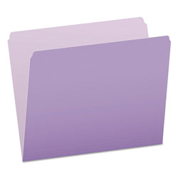 Pendaflex Colored File Folders, Straight Top Tab, Letter, Lavender/Light Lavender, 100/Box