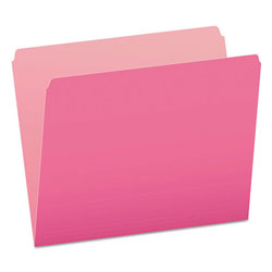 Pendaflex Colored File Folders, Straight Cut, Top Tab, Letter, Pink/Light Pink, 100/Box