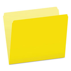 Pendaflex Colored File Folders, Straight Top Tab, Letter, Yellow/Light Yellow, 100/Box