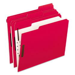 Pendaflex Colored Folders With Embossed Fasteners, 1/3 Cut, Letter, Red/Grid Interior