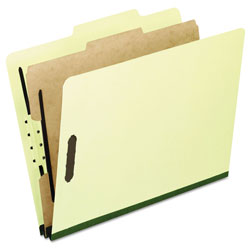 Pendaflex Four-Section Pressboard Folders, Legal, 2/5 Tab, Light Green, 10/Box