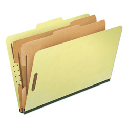 Pendaflex Six-Section Pressboard Folders, Legal, 2/5 Tab, Light Green, 10/Box