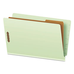Pendaflex Pressboard End Tab Classification Folders, Legal, 1 Divider, Pale Green, 10/Box
