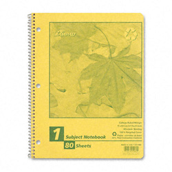 Esselte Autumn Leaf Wirebound Notebook, College/Med Rule, 8-1/2 x 11, White, 80 Sheets