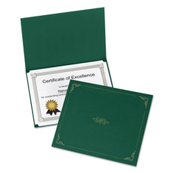 Oxford Certificate Holder, 11 1/4 x 8 3/4, Green, 5/Pack