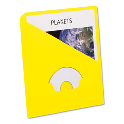 Pendaflex Essentials Slash Pocket Project Folders, 3 Holes, Letter, Yellow, 25/Pack