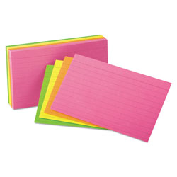 Pendaflex Ruled Index Cards in Assorted Colors, 3 x 5, Glow Colors, 100 Cards/Pack