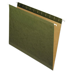 Pendaflex Hanging File Folders, No Tabs, Letter, Standard Green, 25/Box