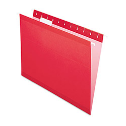 Pendaflex Reinforced Hanging Folders, 1/5 Tab, Letter, Red, 25/Box