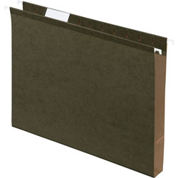 "TOPS 1"" Capacity Reinforced Hanging File Folder, Kraft, Letter, Standard Green, 25/Bx Cap., 25/Box"