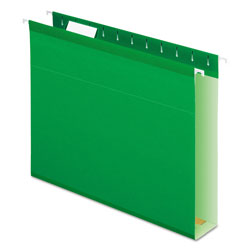 "Pendaflex Reinforced 2"" Extra Capacity Hanging Folders, Letter, Bright Green, 25/Box"