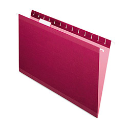 Pendaflex Reinforced Hanging Folders, 1/5 Tab, Legal, Burgundy, 25/Box