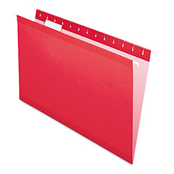 Pendaflex Reinforced Hanging Folders, 1/5 Tab, Legal, Red, 25/Box