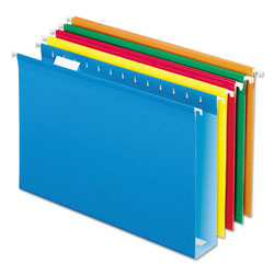 "Pendaflex Reinforced 2"" Extra Capacity Hanging Folders, 1/5 Tab, Legal, Assorted, 25/Box"