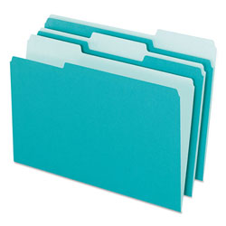 Pendaflex Interior File Folders, 1/3 Cut Top Tab, Letter, Aqua, 100/Box